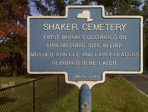 Shakers -  Historical Marker at the Niskayuna Community Cemetery in modern-day Colonie, New York where Mother Ann Lee is buried