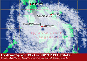 MV Princess of the Stars - Location of the storm and Princess of the Stars when the ship lost radio contact at 11 am June 21, 2008.