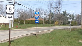 Numbered highways in Ohio - Image: Signage of US 6 Ohio SR 174 Intersection