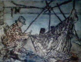 Susan Ross (artist) - Fisherman, Rae-Edzo, NWT etching by Susan Ross circa 1982-83