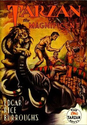 Tarzan the Magnificent (novel) - Dust-jacket illustration of Tarzan the Magnificent