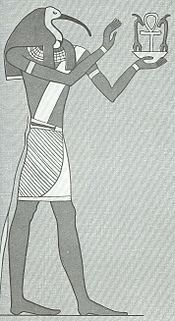 Thoth, depicted with an ibis head.