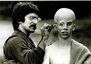 Tom Savini applies make-up to Ari Lehman, creating his vision of Jason Voorhees
