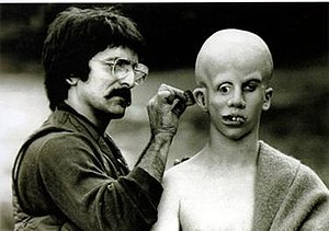 Tom Savini applies make-up to Ari Lehman, crea...