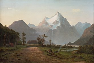 Milford Sound - Two swaggers boiling a billy of tea, Milford Sound by John Gibb, oil on canvas Christchurch 1886