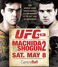 A poster or logo for UFC 113: Machida vs. Shogun 2.