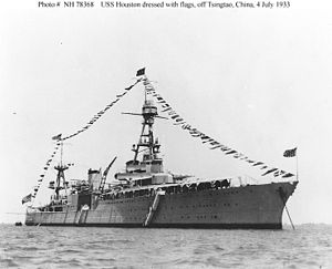 United States Asiatic Fleet - Houston while at Tsingtao, China.