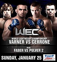 A poster or logo for WEC 38: Varner vs. Cerrone.