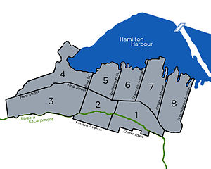 Hamilton, Ontario municipal election, 1944 - Image: Wards of the City of Hamilton from 1931 1949
