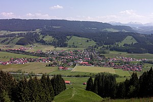 Weitnau - View of Weitnau from the Sonneck, Hauchenberg in the background