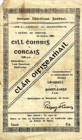 1931 All-Ireland Senior Hurling Championship Final - Image: 1931 All Ireland Senior Hurling Championship Final programme