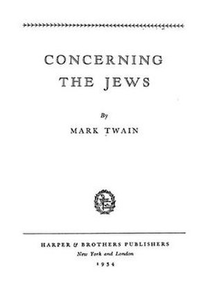 Concerning the Jews - First page of 1934 reprint