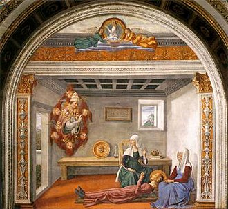 Saint Fina - Announcement of Death to Saint Fina by Saint Gregory the Great, by Domenico Ghirlandaio.