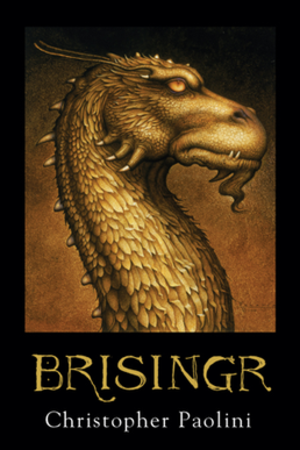 Brisingr - The English cover of Brisingr, featuring the golden dragon Glaedr