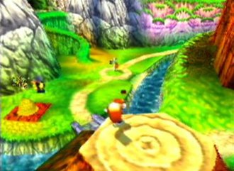 Conker's Bad Fur Day - The player can travel from one level to another through the game's overworld. Each area has a distinct colour theme.