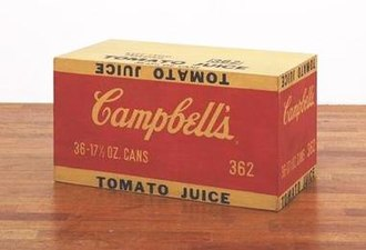 Pop art - Andy Warhol, Campbell's Tomato Juice Box, 1964. Synthetic polymer paint and silkscreen ink on wood, 10 inches × 19 inches × 9½ inches (25.4 × 48.3 × 24.1 cm), Museum of Modern Art, New York City