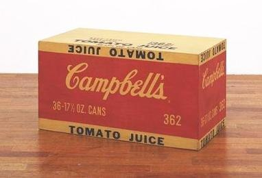 Campbell's Tomato Juice Box. 1964. Synthetic polymer paint and silkscreen ink on wood