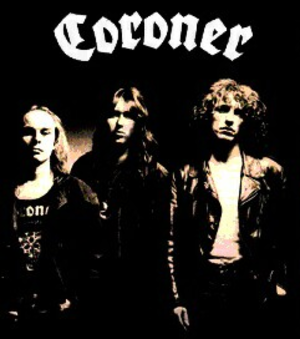 Coroner (band) - Coroner late 1980s. From left to right: Ron Broder (Ron Royce), Tommy Vetterli (Tommy T. Baron), and Marky Edelmann (Marquis Marky)