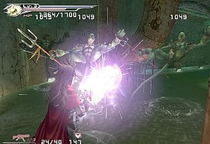 Dirge of Cerberus: Final Fantasy VII - Vincent using lightning materia to damage two opponents at the same time.