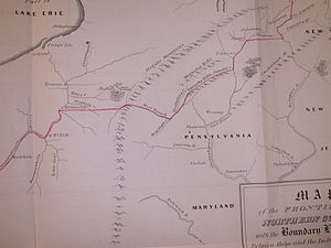 Purchase line - Fragment of Guy Johnson's map of the Line of Property 1768; showing the portion in Pennsylvania; Purchase Line between the Allegheny and Susquehanna rivers on the west side of map