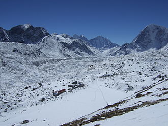 Gorakshep - View of Gorak Shep from the West, half-way up Kala Patthar