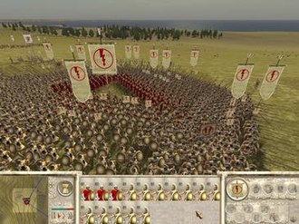 Rome: Total War - Battles in Rome: Total War can feature thousands of individual soldiers, organised into 'units'. The formation of some units can be changed; here, the phalanx formation sacrifices mobility in favour of increased defensive strength