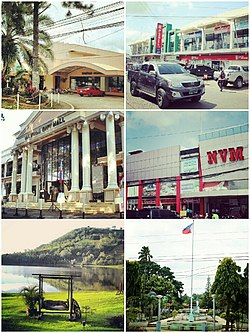 From top left clockwise: Hotel Valencia, Tamay Lang Arcade, NVM Mall, Plaza Rizal, Lake Apo and Valencia City Hall