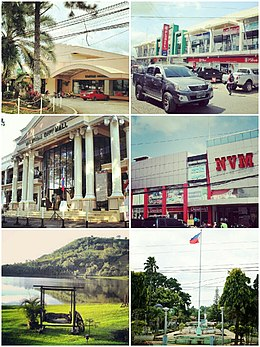 From top left clockwise: Hotel Valencia, Tamay Lang Arcade, Valencia City Hall, NVM Mall, Lake Apo, and Plaza Rizal.
