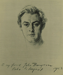 Pencil sketch of Barrymore's head, face on to the artist