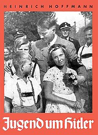 Photographs like the one on the cover of Heinrich Hoffmann's book of photography were used to promote Hitler's populist-nationalist (Völkisch) image.