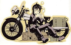 Kino's Journey - Kino sitting in front of Hermes, her talking motorcycle.