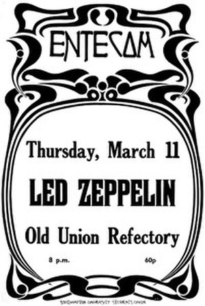"""Led Zeppelin United Kingdom Tour Spring 1971 - Poster for Led Zeppelin's concert at Southampton University, used to help promote its 1971 """"Back to the Clubs"""" tour"""