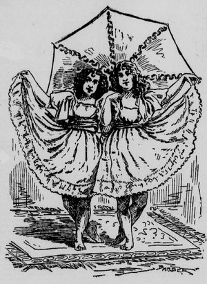 Leigh Sisters - Artist's impression of their umbrella dance