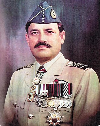Air chief marshal - Air Chief Marshal Anwar Shamim of the Pakistan Air Force wearing his four-star rank insignia (four-star visible on his cap)