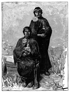 Vintage engraving of Mapuche