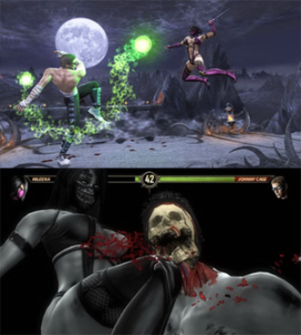 "Mortal Kombat (2011 video game) - A montage of two screenshots from the game, showing a fight between Johnny Cage and Mileena (not displaying the HUD) and the new ""X-ray move"" feature (showing the same characters and the HUD)"