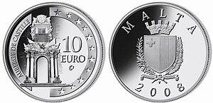 Maltese euro coins - Silver, 10 euro, Auberge de Castille (2008)