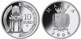Euro gold and silver commemorative coins (Malta) - Image: Mtsilver 08