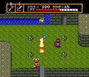 Neutopia - Basic gameplay of Neutopia, which shows off the fire rod weapon