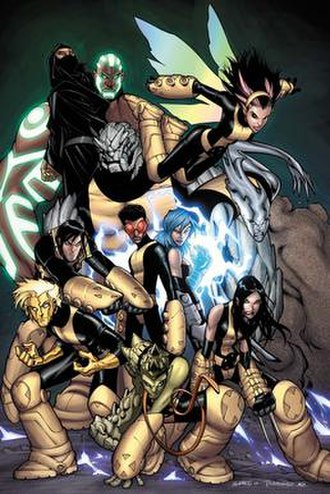 New X-Men - The New X-Men in X-Men: Messiah Complex. Art by Humberto Ramos. From left to right: Elixir, Hellion, Dust, Gentle, Rockslide, Prodigy, Anole, Surge, Pixie, Mercury, X-23