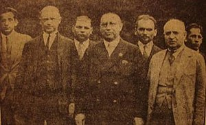 3rd Chess Olympiad - The Polish gold medalists: Frydman, Tartakower (1st and 2nd from the left), Rubinstein (centre), Makarczyk, and Przepiórka (2nd and 3rd from the right).