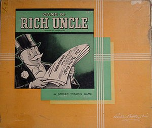 Rich Uncle Pennybags - Rich Uncle Pennybags, as depicted on the cover of the first edition of the Parker Brothers game that gave the character a name