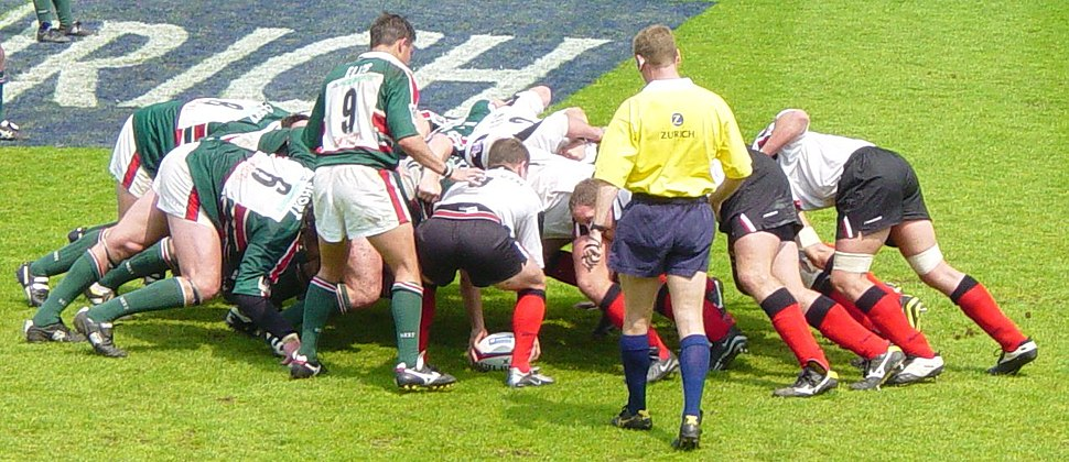Rugby union scrummage close up