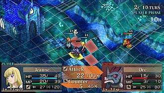 Jeanne d'Arc (video game) - A screenshot from early on in the English translation of the game, with the grid clearly detailed.