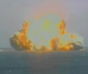 Sea Launch - The Sea Launch NSS-8 launch explosion on January 30, 2007. The explosion has obscured the floating launch pad platform.