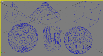 Autodesk 3ds Max - 3ds Max Standard Primitives: Box (top right), Cone (top center), Pyramid (top left), Sphere (bottom left), Tube (bottom center) and Geosphere (bottom right)