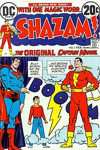 Shazam! #1 (February 1973) was Captain Marvel's first appearance in a DC Comics publication. Art by C. C. Beck, Nick Cardy, and Murphy Anderson.