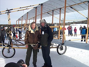 Bjarni Tryggvason - Bjarni Tryggvason and son Michael talking to the crowd after completing five flights on the Silver Dart replica on February 22, 2009.