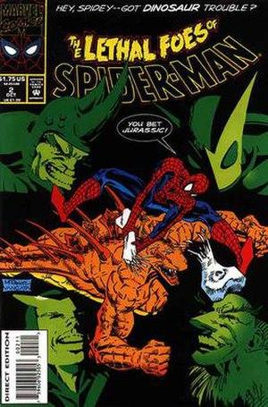 Stegron - Stegron battling Spider-Man.