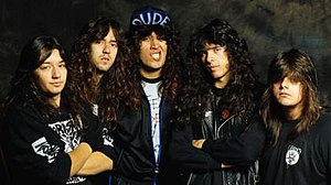 "Testament (band) - Testament's ""classic"" lineup in 1988. From left to right: Eric Peterson, Greg Christian, Chuck Billy, Alex Skolnick and Louie Clemente."
